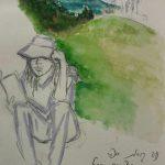 אדוה סנטו - נערה במנוחה, צבעי מים