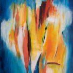 human abstract, ציור אבסטראקט . 90*70. אקריליק על בד.